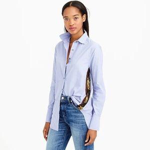 J. Crew : Sequin Side-Stripe Shirt